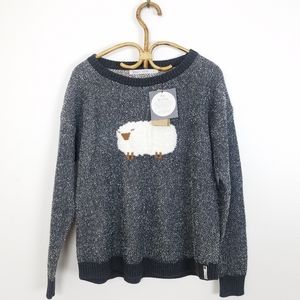 New Woolrich Wooly Sheep Motif Gray Sweater Large